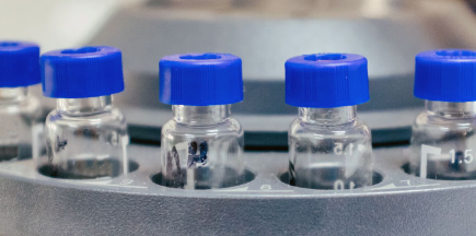 Medical vials in a research facility for Cedars-Sinai Liver Metastasis Resource Core